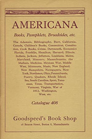 Americana. Books, pamphlets, broadsides, etc. [cover title]