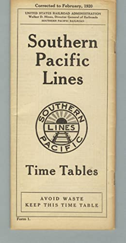Southern Pacific Lines. Time tables [panel title]
