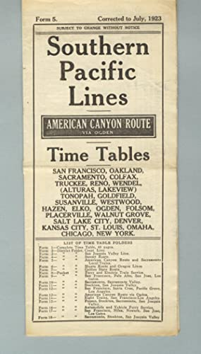 Southern Pacific Lines. American canyon route via Ogden. Time tables [panel title]