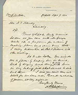 Three autograph letters, signed, to Nathan F. Handy, of Lansing, Michigan