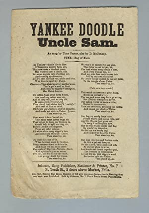 Yankee Doodle Uncle Sam. As sung by Tony Pastor, also by D. McConhay. Tune.- Bag of Nails