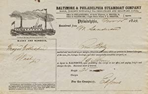 Baltimore & Philadelphia Steamboat Company, receipt on printed form