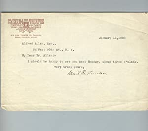 Typed note to Alfred Allen, signed