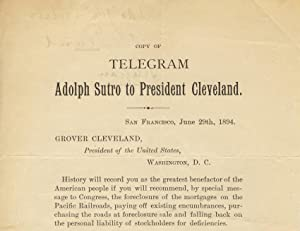 Copy of / telegram / Adolph Sutro to President Cleveland [caption title]