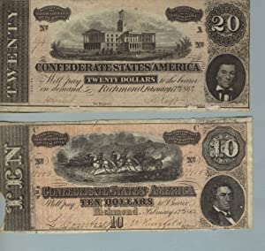 Two Confederate notes, one for 20 dollars and one for ten
