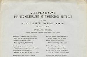 A festive song / for the celebration of Washington's birth-day / in the / South Carolina College ...