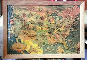 USA Aaron Bohrod's America HISTORY Map Vintage 1940 Lithograph Print in period frame: Bohrod, ...