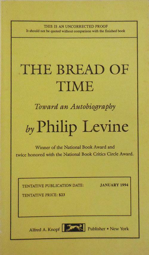 The_Bread_of_Time_Uncorrected_Proof_Signed_Poet_Memoir__Levine_Philip_Assez_bon_Couverture_souple