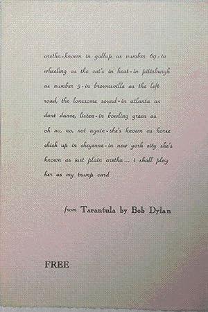 from Tarantula by Bob Dylan (Free Broadside); aretha-known in gallup.: Dylan, Bob