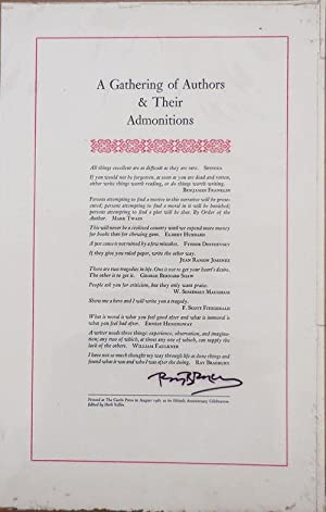 A Gathering of Authors & Their Admonitions (Broadside, Signed by Bradbury)