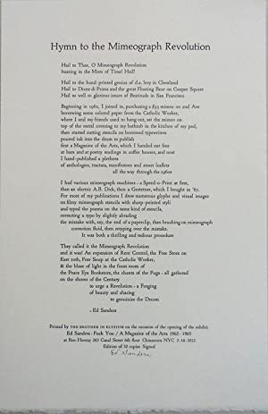 Hymn to the Mimeograph Revolution (Signed Poetry Broadside)