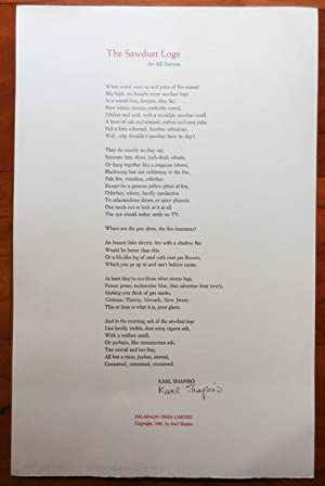 The Sawdust Logs for Bill Everson (Signed Broadside Poem)