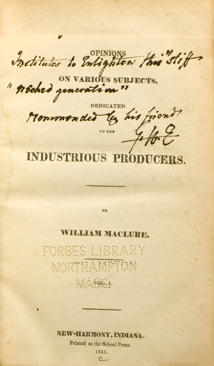 Opinions, on Various Subjects, Dedicated to the: Maclure, William