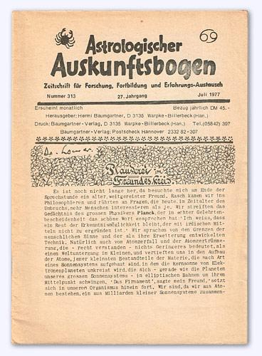 Astrologischer Auskunftsbogen. 27. Jhg. 1977, Nr. 313: Baumgartner, Hermi (Hrsg.):