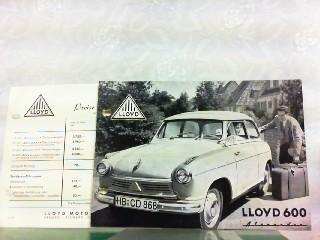 Lloyd 600 Alexander. Mit beiliegender Preisliste gültig: Lloyd, Werbe-Prospekt: