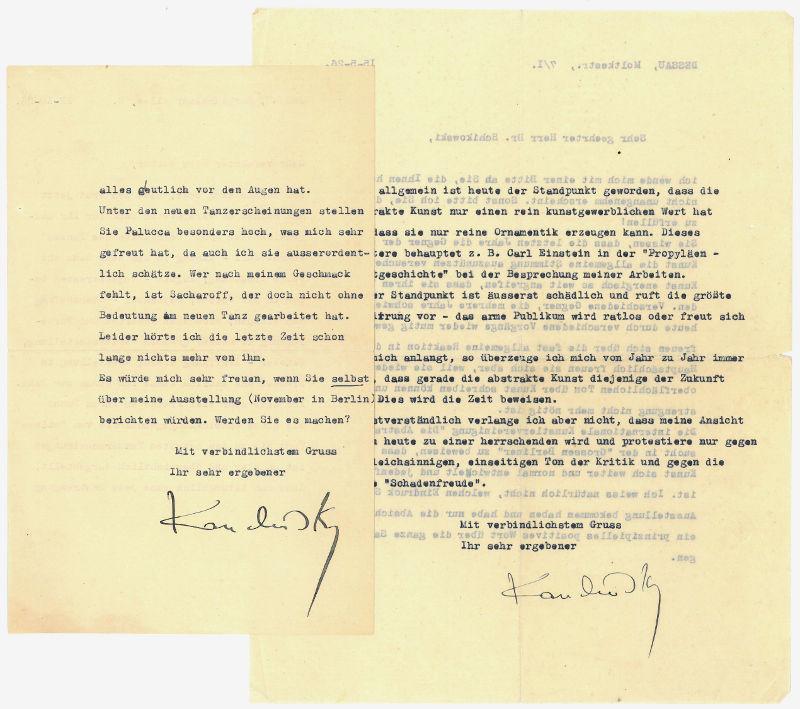 "2 typed letters signed (""Kandinsky"").: Kandinsky, Wassily, Russian"