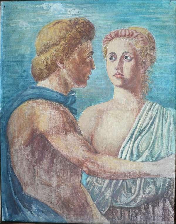 Paar im Stil der pompejanischen Wandmalereien. Gouache: Stein-Ranke, Marie (1873