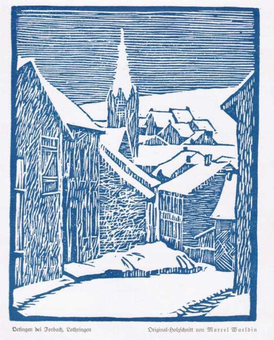 Blick über den verschneiten Ort.: Oetingen bei Forbach,