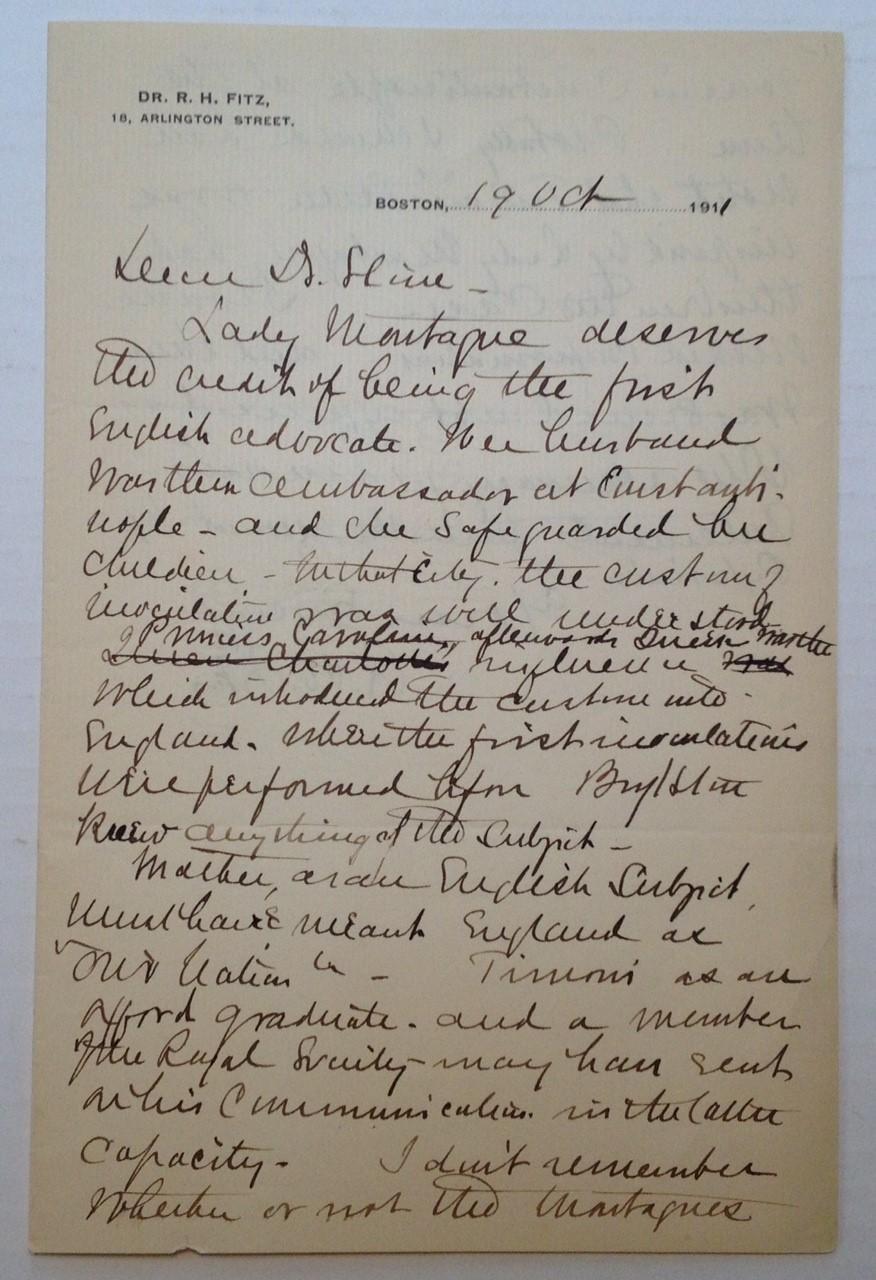 Autographed Letter Signed: FITZ, Reginald Heber