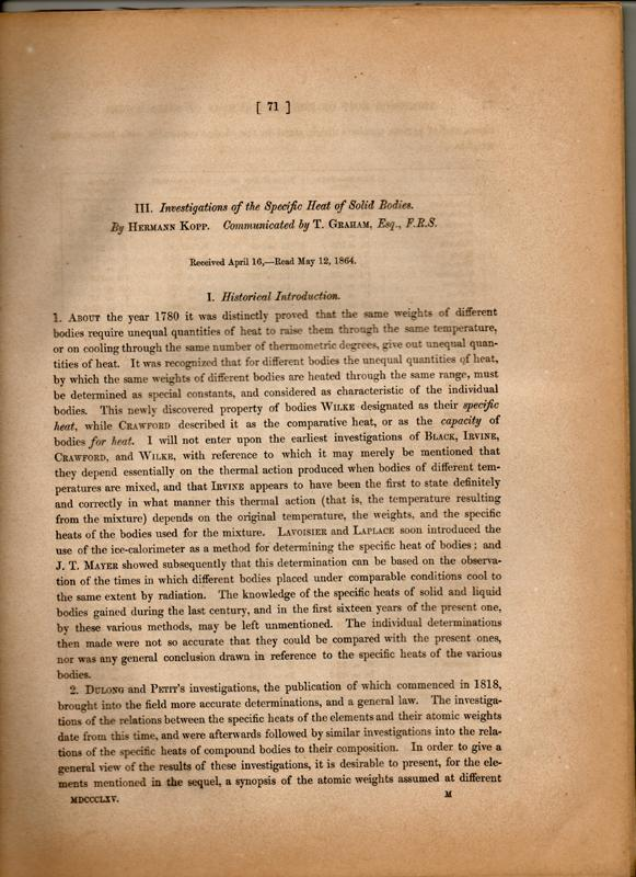 Investigations of the specific heat of solid: Kopp, Hermann