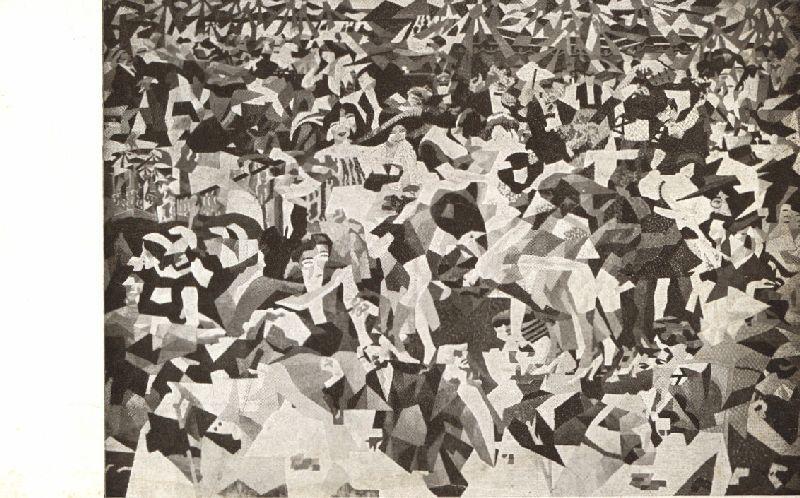 """Der """"Pan-Pan""""-Tanz in Monico, Bildpostkarten-Serie: Gemälde der: Der Sturm, Berlin."""