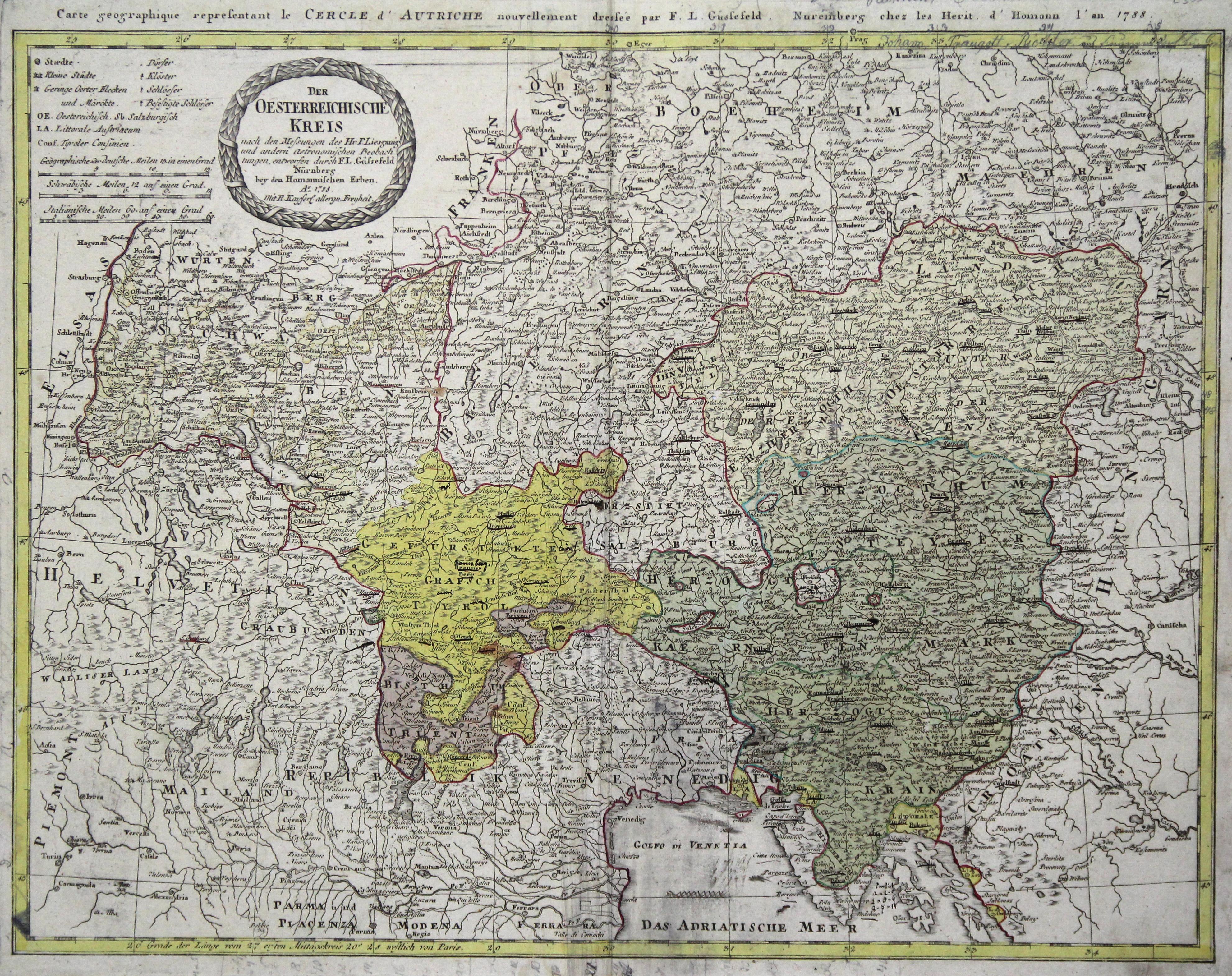 Kst.- Karte, n. Güssefeld b. Homann Erben,: Österreichischer Kreis: