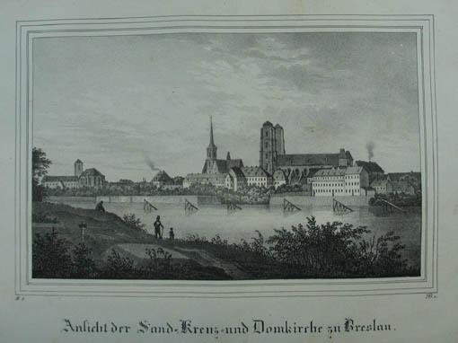 Ansicht der Land-Kreuz-und Domkirche zu Breslau. Lithographie: Breslau (Wroclaw)