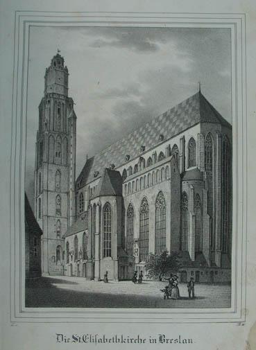 Die St. Elisabethkirche in Breslau. Lithographie aus: Breslau (Wroclaw)