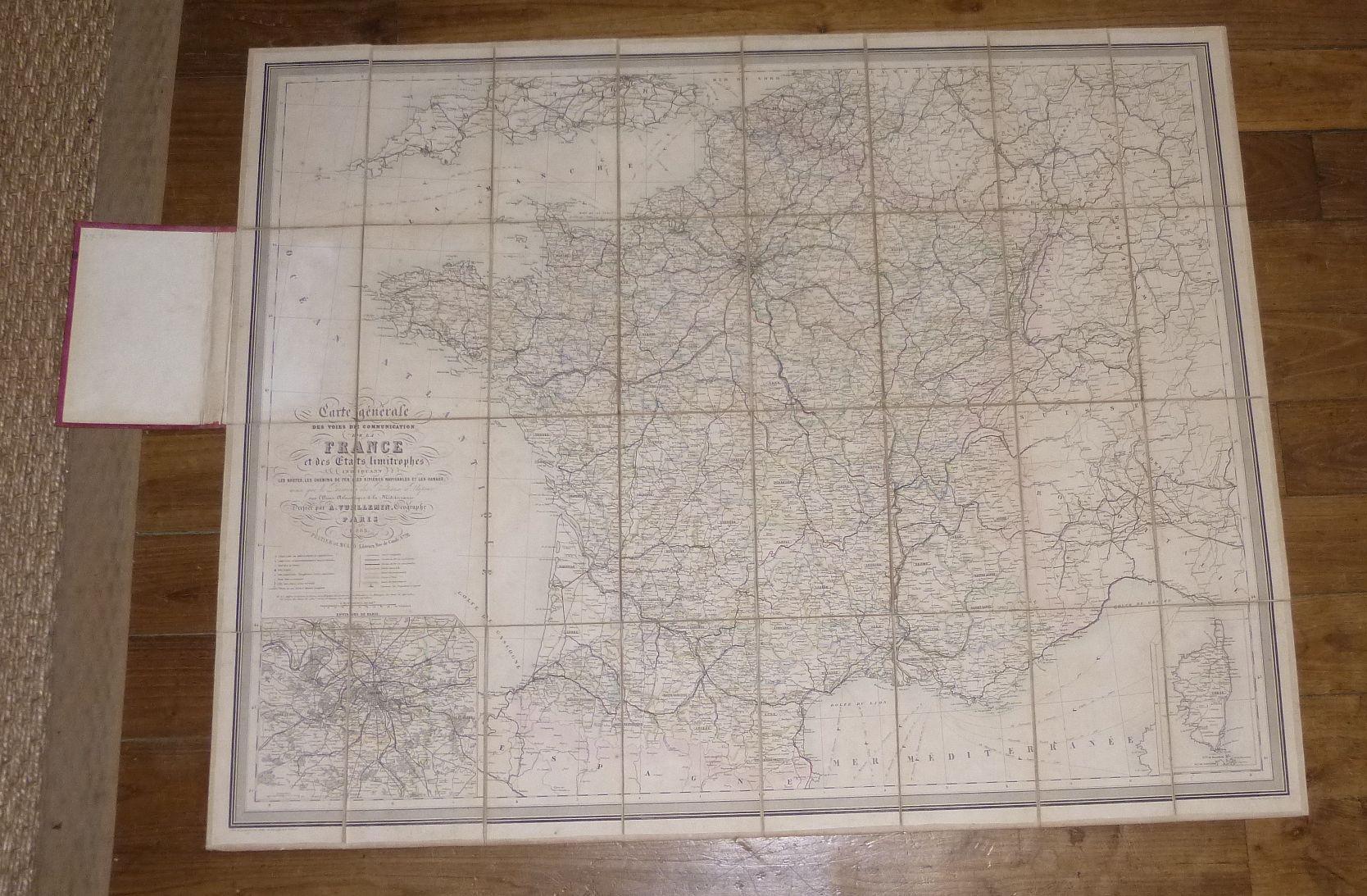 Carte générale des Voies de Communication de la France et des États limitrophes indiquant les ...