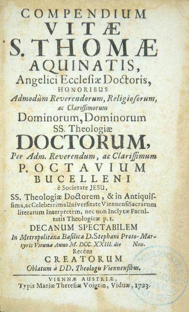 Compendium vitae S. Thomae Aquinatis [.].: Thomas von Aquin