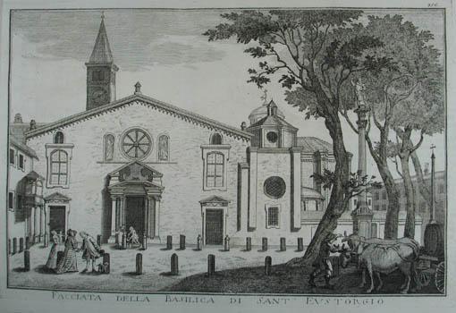 Facciata della Basilica di Sant'Eustorgio. Kupferstich v.: Mailand (Milano)
