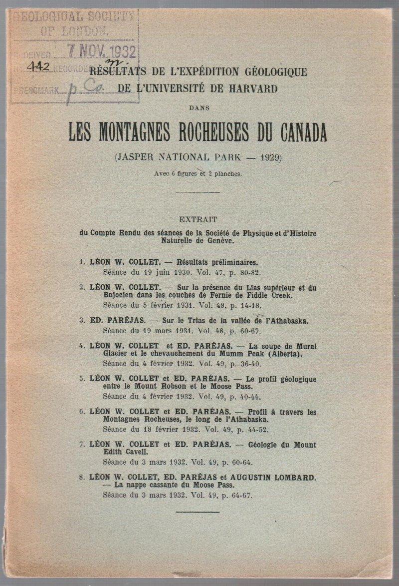 Résultats De L'Expedition Géologique De L'Universite De: Collet, Leon W.