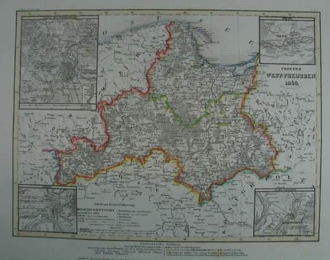 Ostpreussen Westpreussen Ostsee Danzig nach Original 1865 Landkarte 27 Gerahmt