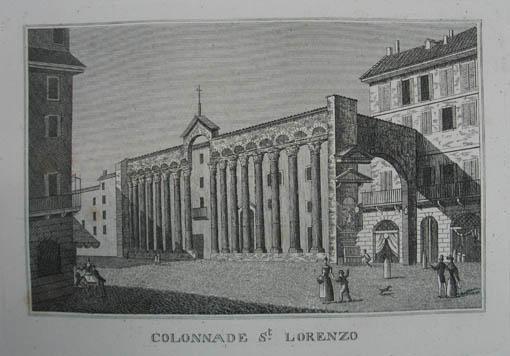 Colonnade St. Lorenzo. Kupferstich aus C. Strahlheim: Mailand (Milano)