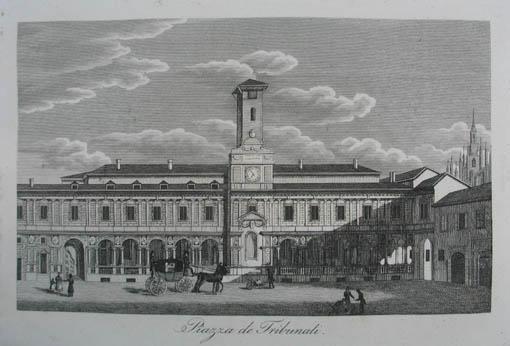 Piazza de Tribunali. Kupferstich aus C. Strahlheim: Mailand (Milano)