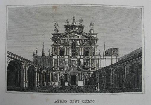 Atrio de St. Celso. Kupferstich aus C.: Mailand (Milano)