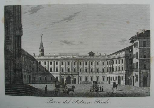 Piazza del Palazzo Reale. Kupferstich aus C.: Mailand (Milano)