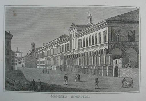 """Grosses Hospital. Kupferstich aus C. Strahlheim """"Die: Mailand (Milano)"""