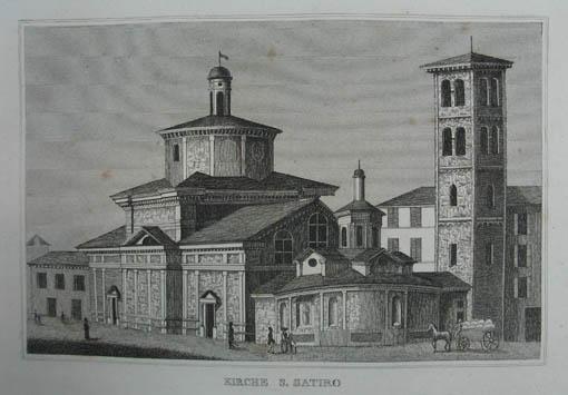 Kirche S. Satiro. Kupferstich aus C. Strahlheim: Mailand (Milano)