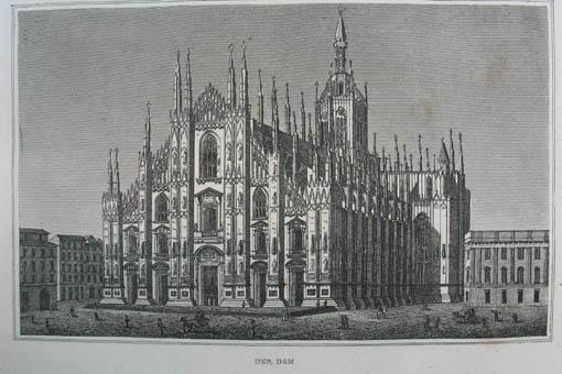"""Der Dom. Kupferstich aus C. Strahlheim """"Die: Mailand (Milano)"""
