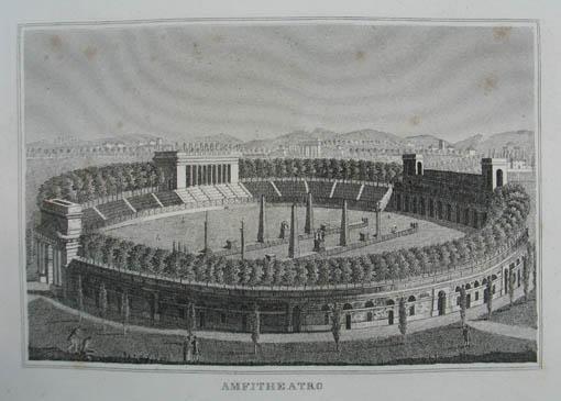 """Amfitheatro. Kupferstich aus C. Strahlheim """"Die Wundermappe: Mailand (Milano)"""