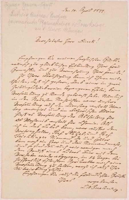 ALS - Eigenhändiger Brief mit Unterschrift.: Buchner, Ludwig Andreas