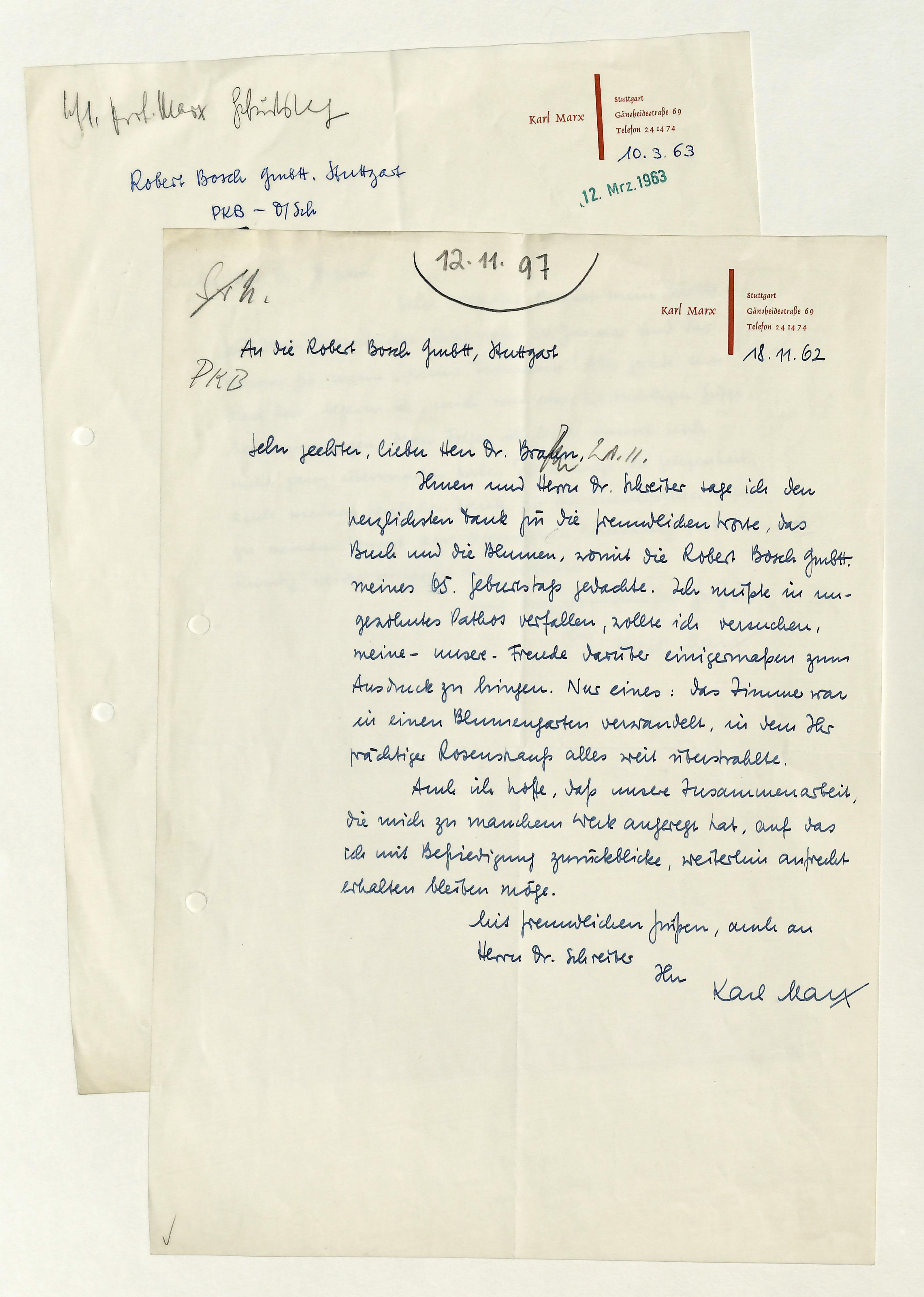 2 eigenh. Briefe mit U.: Marx, Karl, Komponist