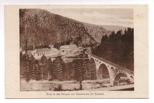 Postkarte: Blick in das Murgtal mit Wasserwerk: Forbach