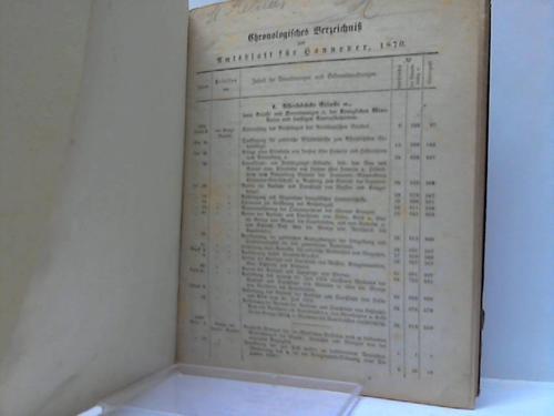 Chronologisches Verzeichnis zum Amtsblatt für Hannover Jahrgang: Hannover; Amtsblatt für