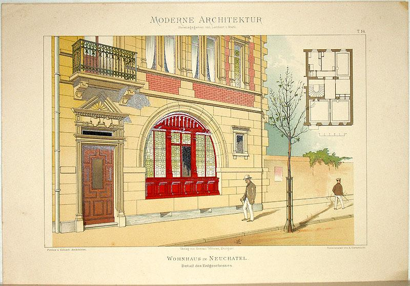 Wohnhaus in Neuchâtel. Detail des Erdgeschosses [ausgeführt: Lambert, André; Stahl,