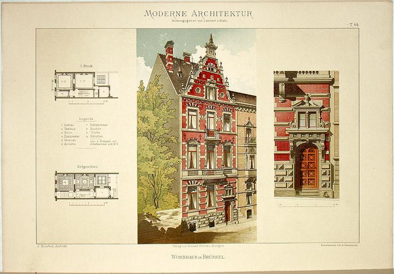 Wohnhaus in Brüssel. [Ausgeführt von J. Brunfaut,: Lambert, André; Stahl,
