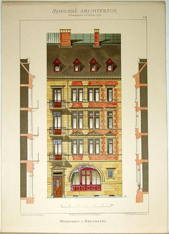 Wohnhaus in Neuchâtel. [Ausgeführt von Colomb u.: Lambert, André; Stahl,
