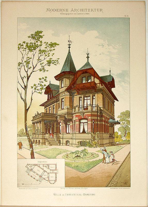 Villa in Frauenthal-Hamburg. [Ausgeführt von Puttfarcken &: Lambert, André; Stahl,