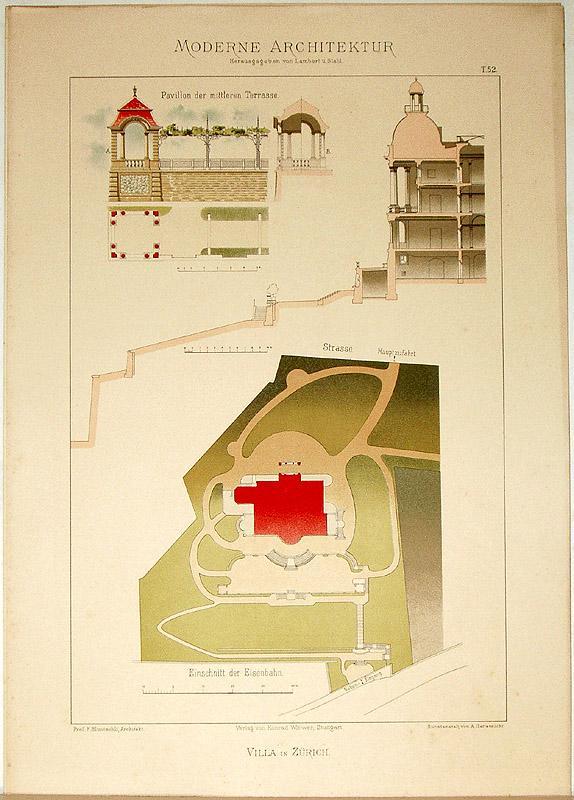 Villa in Zürich. [Ausgeführt von Prof. F.: Lambert, André; Stahl,